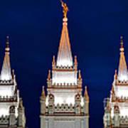 Salt Lake Lds Mormon Temple At Night Poster