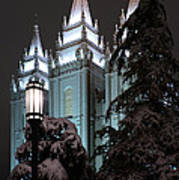 Salt Lake Temple In The Snow Poster