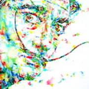 Salvador Dali Watercolor Portrait Poster