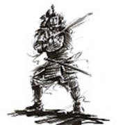 Samurai Complete Armor Warrior Steel Silver Plate Japanese Painting Watercolor Ink G Poster