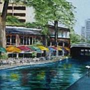 San Antonio Riverwalk Cafe Poster by Stefon Marc Brown