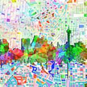 San Antonio Skyline Watercolor 6 Poster