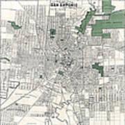 San Antonio Texas Hand Drawn Map  1909 Poster