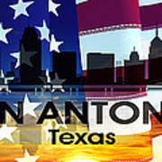 San Antonio Tx Patriotic Large Cityscape Poster