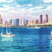 San Diego Skyline And Convention Ctr Poster by Mary Helmreich