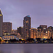 San Diego Skyline At Dusk Panoramic Poster