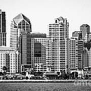 San Diego Skyline In Black And White Poster