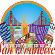 San Francisco Abstract Skyline Golden Gate Bridge Illustration Poster