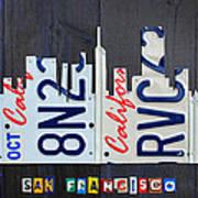 San Francisco California Skyline License Plate Art Poster