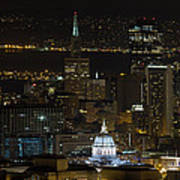 San Francisco Cityscape With City Hall At Night Poster