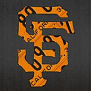 San Francisco Giants Baseball Vintage Logo License Plate Art Poster