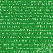 San Francisco In Words Green Poster