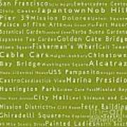 San Francisco In Words Olive Poster