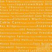 San Francisco In Words Orange Poster