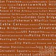 San Francisco In Words Toffee Poster