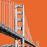 San Francisco Skyline Golden Gate Bridge 2 - Coral Poster