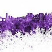 San Francisco Skyline In Purple Watercolor On White Background Poster