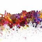 San Francisco Skyline In Watercolor On White Background Poster