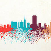 San Francisco Skyline Paint Poster