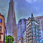 San Francisco Transamerica Pyramid And Columbus Tower View From North Beach Poster