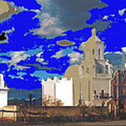 San Xavier Mission Brooding Clouds Post Card Ray Manley  Photo No Date-2013  Poster