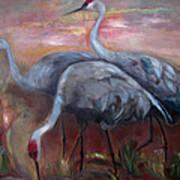 Sandhill Cranes Poster by Susan Hanlon