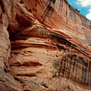 Sandstone Cliff In Canyon De Chelly 1993 Poster by Connie Fox
