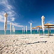 Sandy Beach Umbrellas Poster