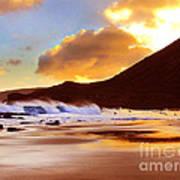 Sandy Beach Sunset Poster