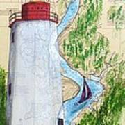 Sandy Hook Lighthouse Nj Chart Map Art Peek Poster