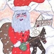 Santa And His Reindeer Poster