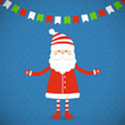 Santa Claus On A Blue Background Poster