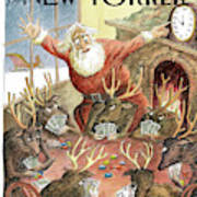 Santa Claus Rushed To Get His Reindeer Ready Poster