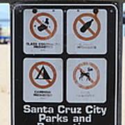 Santa Cruz Beach Sign At The Santa Cruz Beach Boardwalk California 5d23840 Poster by Wingsdomain Art and Photography