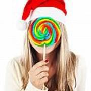 Santa Girl Eating Lollipop Poster