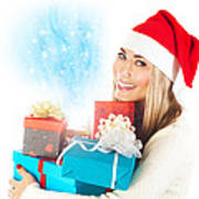 Santa Girl With Gifts Poster