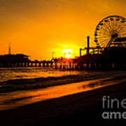Santa Monica Pier California Sunset Photo Poster by Paul Velgos