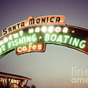 Santa Monica Pier Sign Retro Photo Poster
