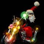 Santa Motoring Poster