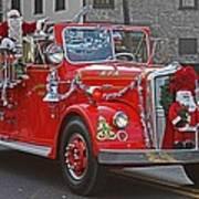 Santa On Fire Truck Poster