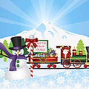 Santa On Train With Snow Scene Poster