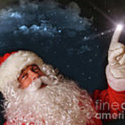 Santa Pointing With Magical Light To The Sky Poster by Sandra Cunningham