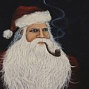 Santa With His Pipe Poster