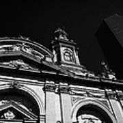 Santiago Metropolitan Cathedral Next To Modern Glass Clad Office Block Chile Poster