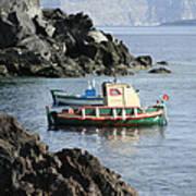 Santorini Boats Poster