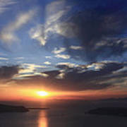 Santorini Sunset Cyclades Greece  Poster