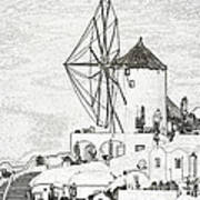 Santorini Windmill Poster