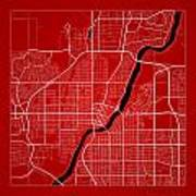 Saskatoon Street Map - Saskatoon Canada Road Map Art On Color Poster