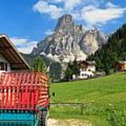 Sassongher Mount From Corvara Poster