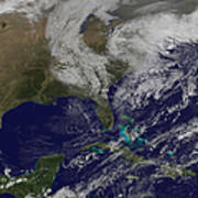 Satellite View Of A Noreaster Storm Poster